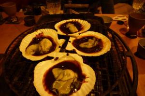 生牡蠣の自家製あわせ味噌貝殻焼き